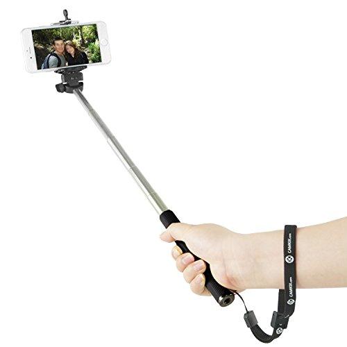 Bastone Allungabile per Selfie Camkix con Telecomando Bluetooth - con Supporto Universale Compatibile con iPhone, Samsung, e altri dispositivi larghi fino a 8.25 cm / Monopiede portatile totalmente regolabile 30 - 102 cm / Leggero, compatto, facile da trasportare