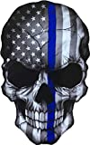 Papapatch Realistic Skull USA Flag American US United States America Police Law Enforcement Thin Blue Line Window Laptop Wall Decor Decal Vinyl Sticker (PS-STK-SKULL-BLUE-LINE)