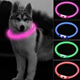 Easing LED Dog Collar,USB Rechargeable Adjustable Cut to Size Ultra Bright Colours Glow Light Collar for Dogs USB Rechargeable Lithium Battery Night Visibility & Safety (Pink)