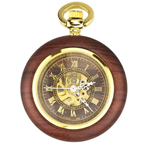 H&B Redwood Automatische Mechanische Uhr Männer Und Frauen Passen Klassische Retro Hohle Taschenuhr Halskette Krankenschwester Uhr Tisch Tisch Hängende Dekoration Tisch (Kaffee Goldoberfläche)