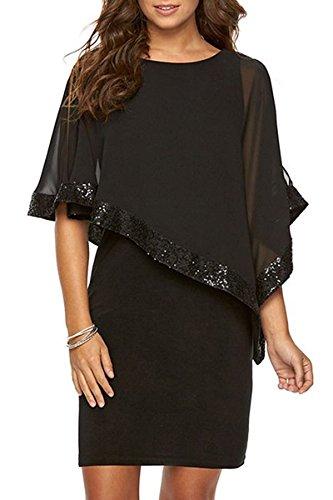 Minetom Damen Elegant O-Ausschnitt Cocktail Kleid mit Chiffon Poncho Minikleid Partykleid Abendkleid Pailletten Spleiß Kleid für Büro Schwarz DE 38