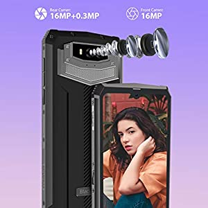 """13000mAh Rugged Phone, Blackview BV9100 4GB+64GB Dual SIM Rugged Cell Phones Unlocked, IP68 Waterproof Smartphone, Android 9.0 Pie 6.3"""" Screen NFC Face Unlocked AT&T T-Mobile Blackview Cell Phones"""