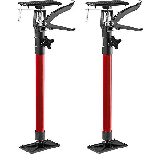 TecTake Türspanner Teleskopstange | stufenlos verstellbar | leichte Handhabung - Diverse Modelle (2er Set rot| Nr. 402615)