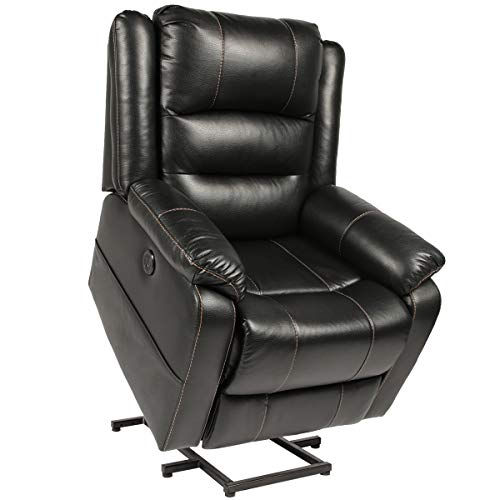 Electric Power Lift Recliner Chair, Leather Recliners for Elderly, Home Sofa Chairs with Heat & Massage, Remote Control, 3 Positions, 2 Side Pockets and USB Ports, Black