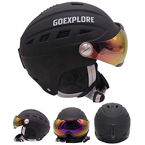 ACC Unisex skihelm met bril, wind- en UV-bestendig, voor de winter, Freestyle snowboardhelm, hoofdbescherming voor aandrijving