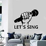 Wandaufkleber Lassen Sie S Singen Wandtattoo Zitate Mikrofon Karaoke Ktv Interieur Musikalische Kunst Dekor Vinyl Fenster Glasaufkleber Abnehmbares Wandbild 42X52Cm