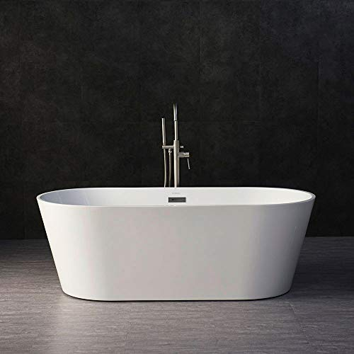 WOODBRIDGE BTA-1513 Acrylic Freestanding Bathtub Contemporary Soaking Tub with Brushed Nickel Overflow and Drain, BTA1513 White, 67