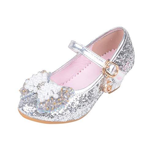 Ucoolcc Prinzessin Schuhe MäDchen, Baby Mädchen Perlen Kristall Bling Bowknot einzelne Sandalen, Kinder Party Casual Schuhe