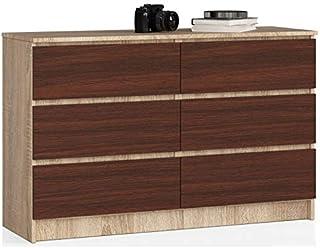 ADGO K120 Commode moderne, bicolore, à 6tiroirs, L 120 x l 40 x H 77cm, meuble universel, pour le salon, finition mate