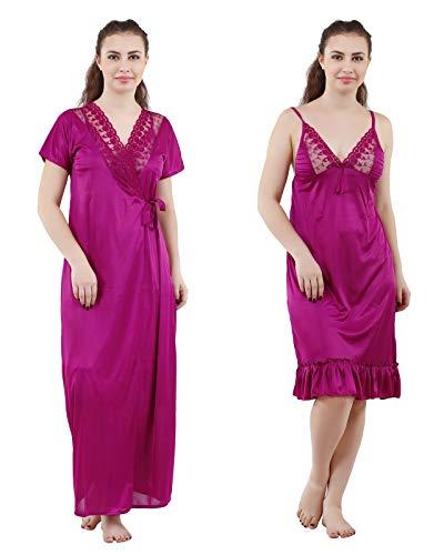Romaisa Women's Satin Nightwear Set of 2 Pcs, Nighty with...