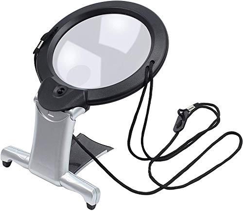 Beileshi - Lupa 2 en 1 con lupa grande y manos libres con luz y cordón para el cuello, lupa iluminada LED para leer manualidades de costura