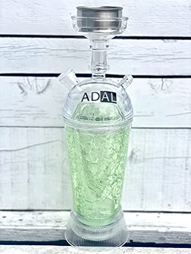 ADAL ICE-Shisha | Kühler- Shisha Rauch | ICE Travel-Shisha | Komplett-Set inkl. abnehmbarer LED Untersetzer + Zange & Schlauch | Für Zuhause & Unterwegs | Plexiglas - Acryl (Grün)