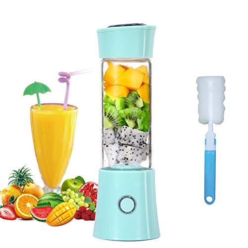 Mini Standmixer, USB Wiederaufladbare Tragbarer Entsafter 6 Edelstahlklingen Leistungsstarker Obst und Gemüse Mixer 480ml 4000mAh Smoothie Maker für Büro Küche Outdoor-Sportarten(Blau)