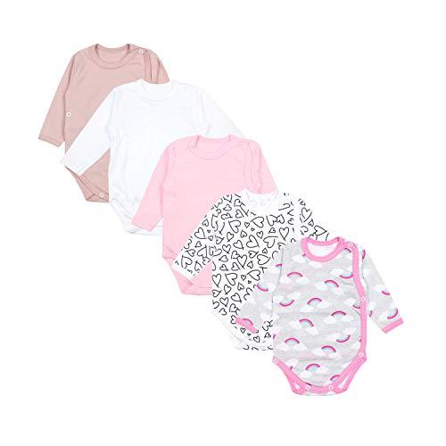 TupTam Baby Unisex Langarm Wickelbody Print/Uni 5er Pack, Farbe: Mädchen 3, Größe: 62