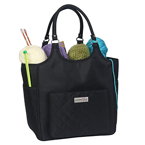 Everything Mary Deluxe Yarn Knitting Crochet Organizer Bag, Black - Storage Holder for Needles & Crocheting Accessories - Large Craft Caddy for Supplies - Needle & Hook Organizers Case