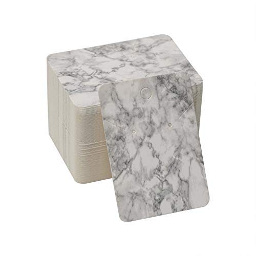 100pcs joyería de las tarjetas de la exhibición de las tarjetas del pendiente del mármol que muestran las etiquetas colgantes de la etiqueta del papel de Kraft del paquete de la joyería