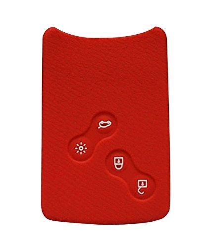Happyit Custodia per telecomando auto a 4 pulsanti, in silicone, per Renault Clio, Scenic, Megane, Duster, Sandero, Captur, Twingo, Koleos, Red