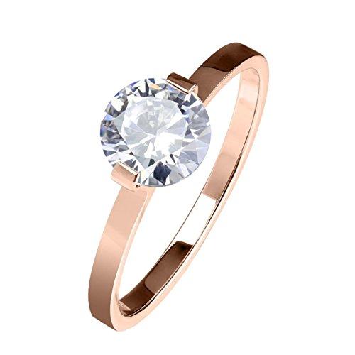 beyoutifulthings runder SOLITÄR-ZIRKONIA Clear Band-Ring Finger-Ring Chirurgenstahl 316L Verlobungs-Ring Partner-Ring Trau-Ring Roségold 50(15.9)