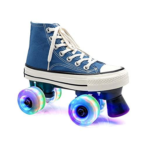 ZXSZX Rollschuhe Hellblau Für Frauen Männer, Disco-Roller Für Erwachsene Geeignet Für Straße Und Halle, LED Quad Skating Für Mädchen Und Jungen Im Innenbereich,Flash Wheel-42