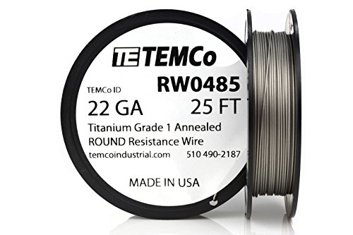 TEMCo Titanium Wire 22 Gauge 25 FT Surgical Grade 1 Resistance AWG ga