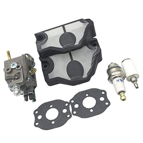 Carburador de combustible con junta Filtro de aire Filtro de combustible Bujía para Husqvarna 36 41 136 137 141 142 Kit de juntas