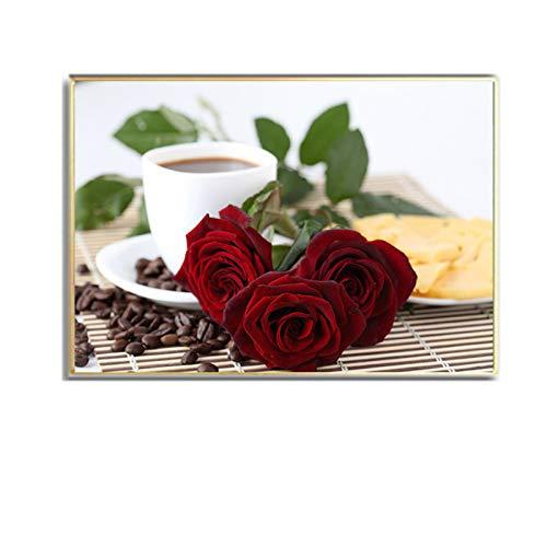 HSFFBHFBH Leinwandbilder Große Kaffeetasse und romantische rote Rose Blumen Küche modern für Wohnkultur Wandbilder 40x50cm (16