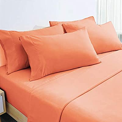 HOMEIDEAS 6 Piece Bed Sheets Set Extra Soft Brushed Microfiber 1800 Bedding Sheets Deep Pocket, Wrinkle & Fade Free (Full,Coral)