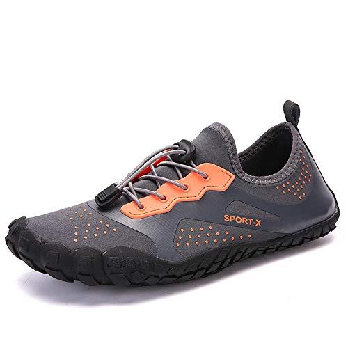 TWFY Agua Zapatos Hombres Mujeres Zapatos de los Hombres al Aire Libre Deportes Rutas for Nadar Femeninas Buceo Zapatos de vadeo Zapatos Descalzos para Nadar en la Playa (Color : Orange, Size : 36)