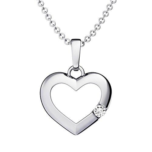 Herzkette Silber 925 *Ich liebe Dich* Etui Kette mit Anhänger Damen-Kette Zirkonia Stein Echt-Silber Herz-Anhänger Echt-Schmuck Geschenk für Freundin Halskette Silberkette FF518SS925ZIFA45
