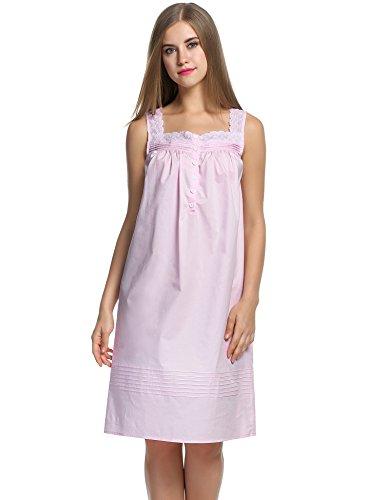 Balancora Damen Nachthemd Baumwolle Edel Nachtkleid weiß Victory Sleep Shirt Schlafanzüge süß Retro Nachtwäsche Kurz ärmellos