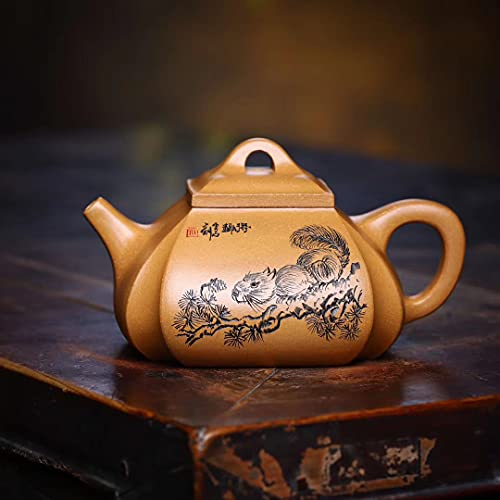 Zisha Hu - Sifang Choujiao 10 onzas, auténtica tetera de arcilla Yixing, china Senior Master hecha a mano