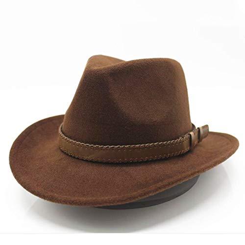 CHENTAOCS Dames Wol Uitsnijding Western Cowboy Hoed, Met Gentlemanly Stijl Van Modieuze Riem Grootte, Dames Jazz Cowgirl, Gemakkelijk te gebruiken