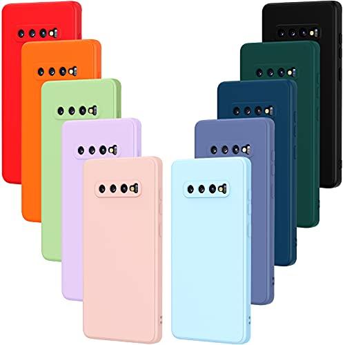 VGUARD 10 x Funda para Samsung Galaxy S10+ / S10 Plus, Ultra Fina Carcasa Silicona TPU Protector Flexible Funda (Negro, Gris, Azul Oscuro, Azul Cielo, Azul, Verde, Rosa, Rojo, Amarillo, Marrón)
