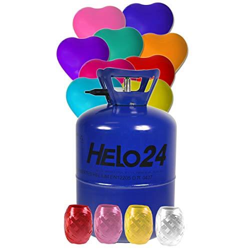 HELO Helium Ballon Gas 0,25m³ (7,1 Liter Flasche) für 30 Ballons inkl. 30 Herz Luftballons (bunt gemischt), Einweg Helium Gasflasche mit Sperrvorrichtung und Knickventil für einfache Befüllung