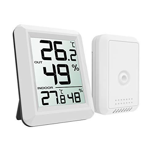 ORIA デジタル温湿度計 外気温度計 ワイヤレス 室内 室外 高精度 LCD大画面 置き掛け両用 華氏/摂氏表示 温室 ペット 温度管理 健康管理 インフルエンザ予防 見やすい おしゃれ ホワイト