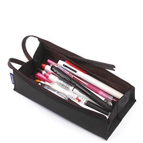 nohbi Durable Federmäppchen,Geteilte quadratische Federtasche aus Segeltuch, Aufbewahrungstasche für Studentenpapier, Grau PC22-DM,für Büro/Schule
