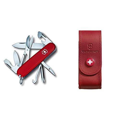 Victorinox Super Tinker Couteau d'Officier Rouge & 4.0520.1 Etui Cuir Rouge