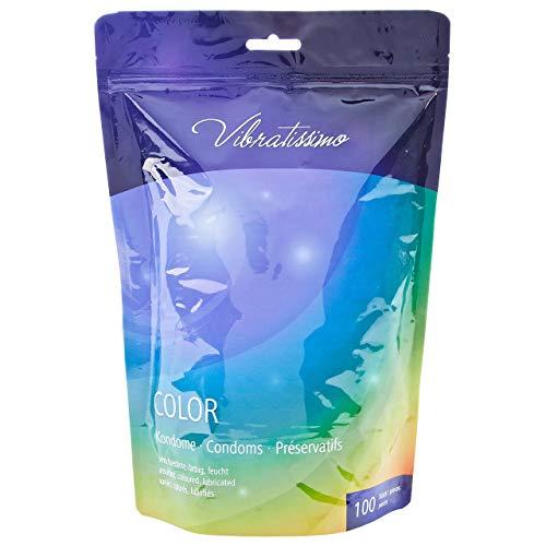 Paquete de 100 preservativos de colores VIBRATISSIMO para una sensación auténtica, real y extra húmeda (testados en Alemania)