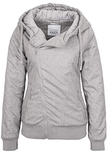 Sublevel Damen Winter-Jacke mit Kapuze warm gefüttert Light-Grey L