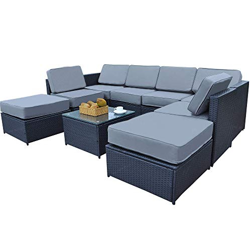 Mcombo Patio Furniture Sectional 9 Pieces Wicker Sofa Set All-Weather Outdoor Seating Black Rattan Conversation Chair Set with Thick Cushions(5.12Inch) and Tea Table Black 6085-1009EY