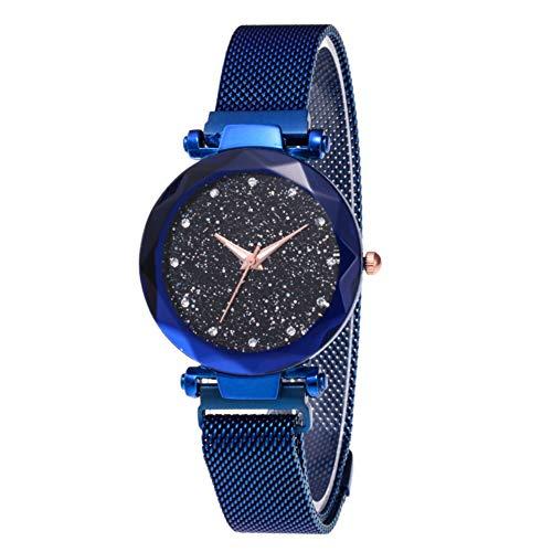 Damen-Armbanduhr, Sternenhimmel, modische elegante Damen-Quarz-Armbanduhr mit dünnem magnetischem Armband, aus Stahl und Armband, Damen, Blau + Armband