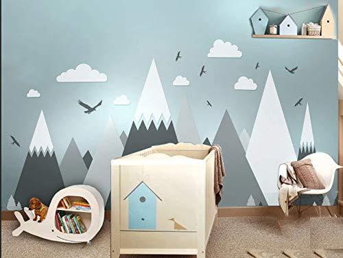 Graue Creme Berge Wand Aufkleber Home Decor für Kinderzimmer Kindergarten - Eagles Kiefer Bäume Wolken schöne Kunst Wandbilder Aufkleber