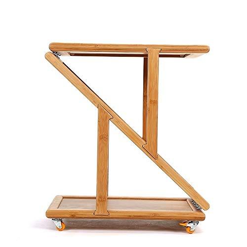 Alvnd Tavolino Portatile in bambù, tavolino Pieghevole for Divano Letto Vassoio da caffè Tavolo da Pranzo con ripiano Carrello da tè con Ruote Rimovibile (Color : B, Size : 50 * 30 * 20cm)