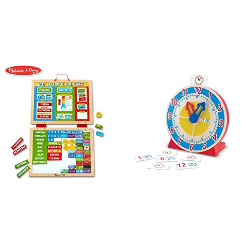 Melissa & Doug My Magnetic Daily Calendar, Seasonal & Religious (Daily Magnetic Calendar, Fabric-Hinged Dry-Erase Boards) & Turn & Tell Wooden Clock - Educational Toy With 12+ Reversible Time Cards