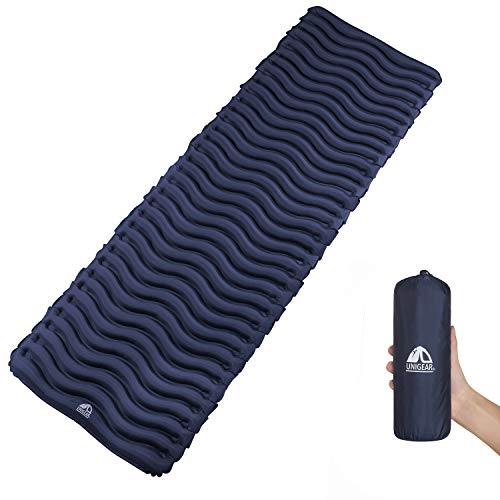Unigear Ultralight Inflatable Sleeping Pad, Compact Air Camping Mat for Backpacking, Hiking and Traveling (Navy Blue Pad No Pillow)