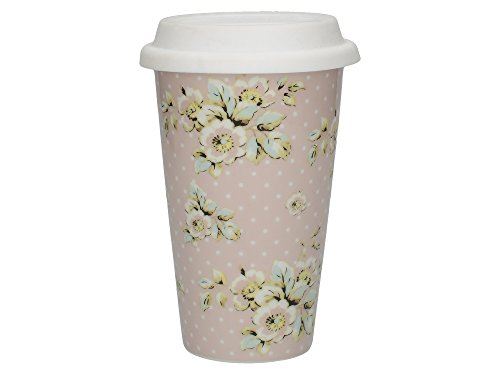 Katie Alice Cottage Flower isolierte Keramik-Reisebecher mit Silikon-Deckel, 260 ml (9 fl oz)