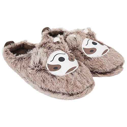Keanu Damen & Mädchen Warme Hausschuhe, 3D-Motive: Lama mit peruanischem Hut/Faultier/Hund, Süßes Geschenk, Kinder- und Damengrößen, - Sloth Mule Slipper Damen - Größe: 39/40 EU