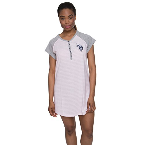 U.S. Polo Assn. Womens Nightgown Short Sleeve V-Neck Sleepwear Nightshirt Pink Daisy Large