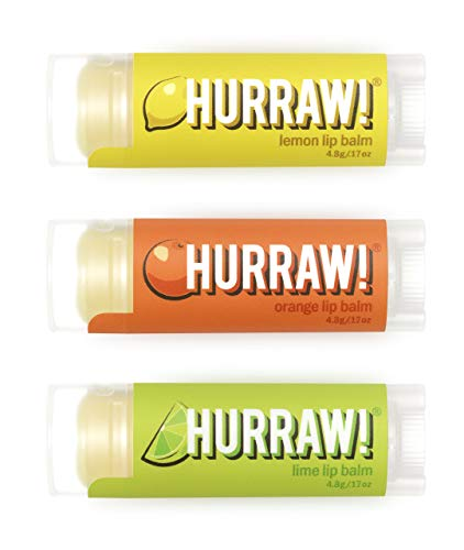 Hurraw! Lemon, Orange, Lime Lip Balms, 3 Pack Bundle: Organic, Certified Vegan, Cruelty and Gluten Free. Non-GMO, 100% Natural Ingredients. Bee, Shea, Soy and Palm Free. Made in USA