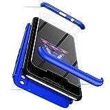 cmdkd Hülle Kompatibel mit Huawei P Smart Plus/Nova 3i,Hardcase 3 in 1 Handyhülle 360 Grad Hülle Full Cover Hülle Komplett Schutzhülle Glatte Bumper + Panzerglas.Blau